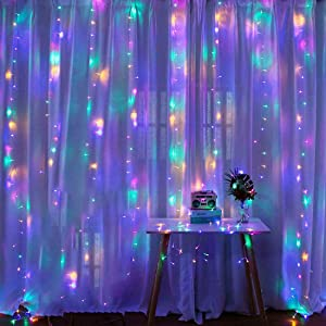 LED Curtain Lights, 8 Modes Multicolor Window String Lights Wall Decorations for Christmas Decor, Room, Party, Garden