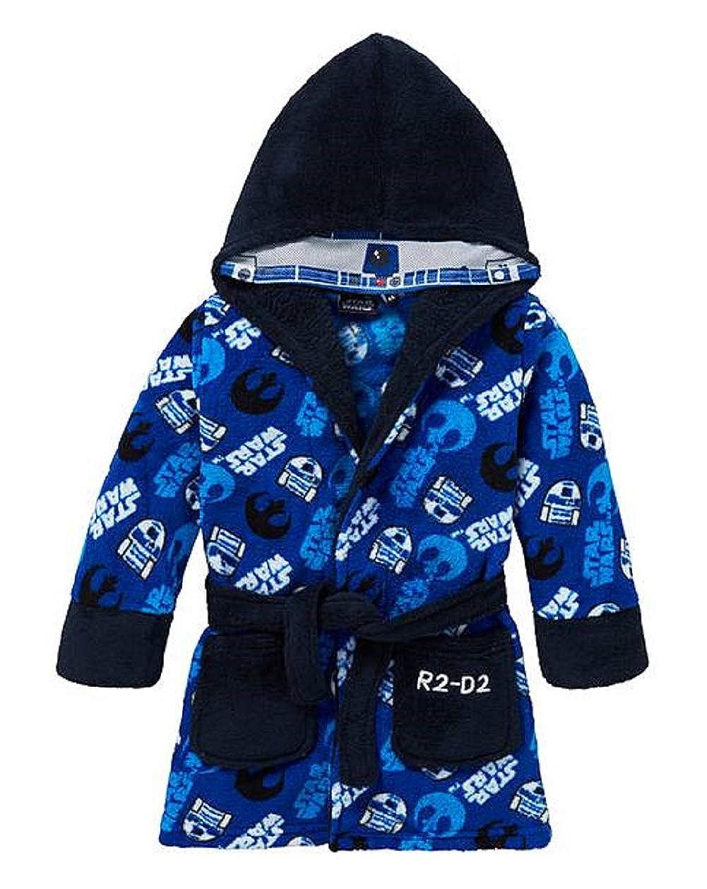 Boys Star Wars Dressing Gown Size 3 4 5 6 7 8 9 10 Darth Vader Character Fleece Bathrobe