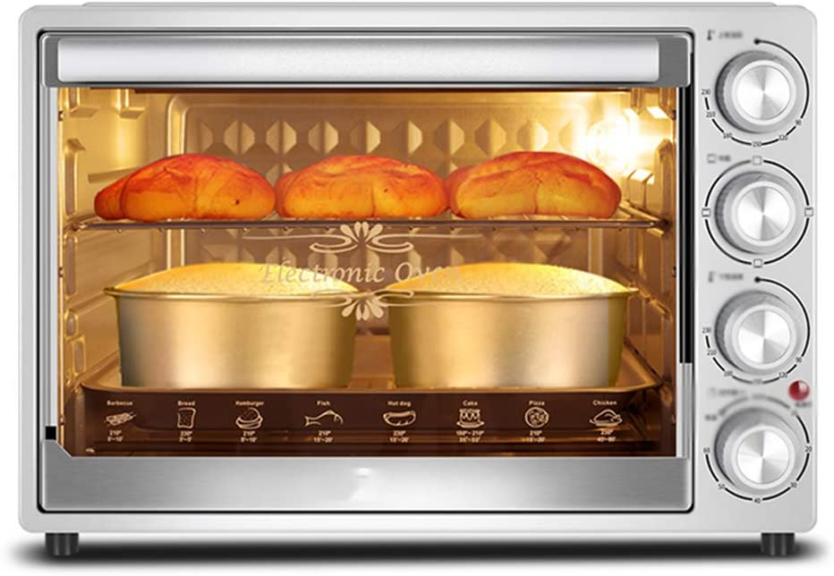 MDEOH Household Baking Electric Oven Multi-Function Automatic Electric Oven 40 Liters Upper and Lower Tubes Independent Temperature Control 1500 Watts Gray