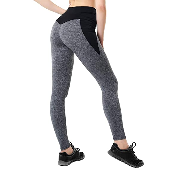 Women Sports Workout Pants Elastic Yoga Running Tights Fitness Gym Trousers HD