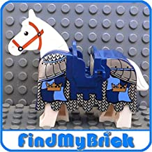 N902 Lego White Horse and Armor Barding with Gold Crowns Pattern LOOSE from 7094 (NEW Lego Sold Loose as Image Show)