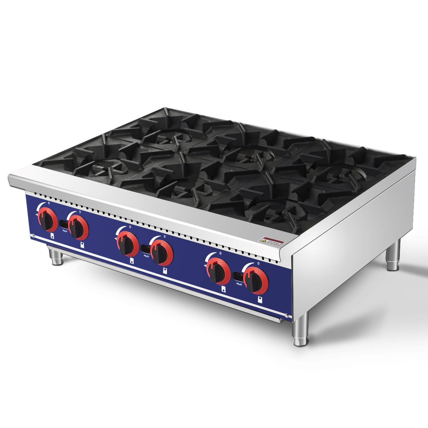 Commercial Countertop Hot Plate - KITMA 36 Inches 6 Burner Natural Gas Range - Restaurant Equipment for Soups, Sauces by KITMA
