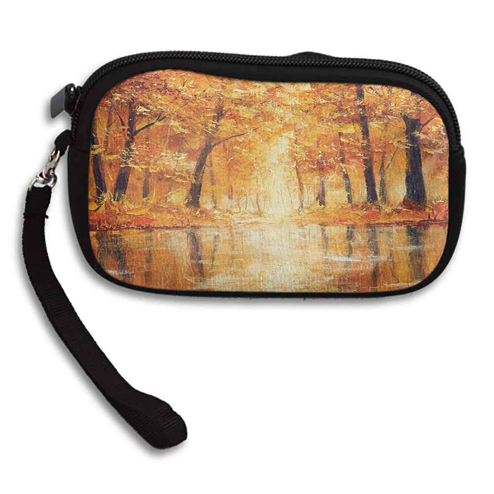 Country Coin Pouch Painting of a Forest by the Small Lake in Autumn Pale Fall Trees and Leaves Art W 5.9x L 3.7 Fashion Wristlets Wallets