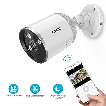 FREDI Cámara de vigilancia para Exteriores, 1080P HD inalámbrica Seguridad Bullet cámara/Impermeable IP66, Visión Nocturna, Detección de ...