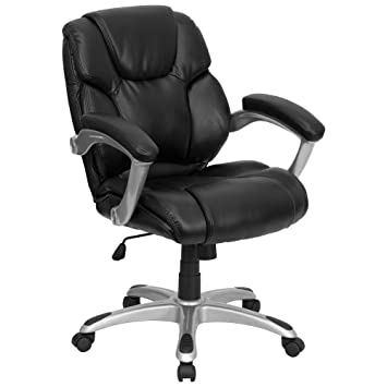 Flash Furniture Mid Back Black Leather Swivel Task Chair with ArmsAmazon com  Flash Furniture Mid Back Black Leather Swivel Task  . Flash Furniture Mid Back Office Chair Black Leather. Home Design Ideas