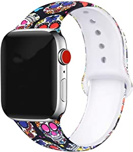 Colorful Skull Floral Bands Compatible with Apple Watch Series 4/3/2/1,Silicone Sports Straps Printed Pattern Wristband for iWatch 38mm/42mm/40mm/44mm S/M M/L for Women/Men