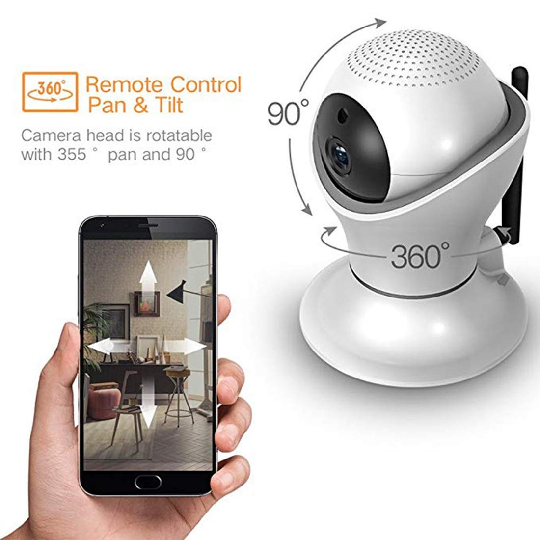 Carriemeow Wireless Camera WiFi Smart 1080p Network Remote Mobile Phone HD Night Vision Home Indoor Monitor