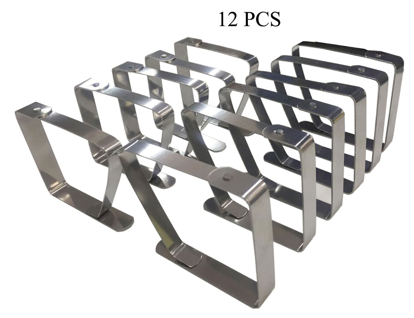 levylisa Pack of 12 Stainless Steel Tablecloth Clips for 2.05 inch Thick Tables Outdoor Picnic Metal Tablecloth Clamps,Table Cover Clips,Drawing Board Clips,Wedding Picnic Indoor Outdoor