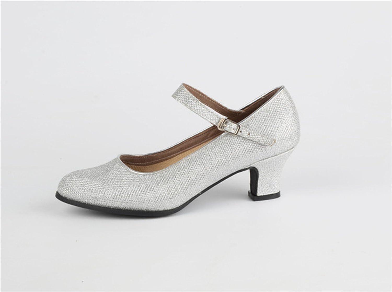 Ruanlei@Standard da Ballroom Sala da Ruanlei@Standard Ballo Scarpe/scarpe da ballo/scarpe da ballo/scarpe latino raso donneDanza latina con morbidi lustrini, argento, 37  Silver e79052