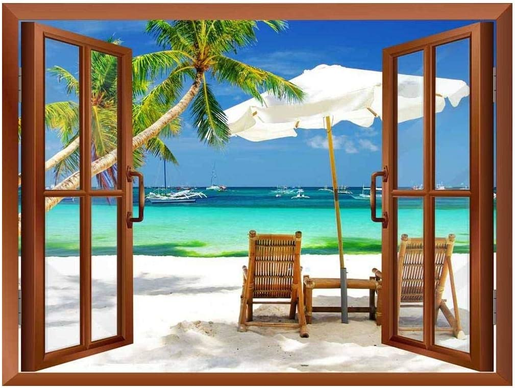 """wall26 - Tropical Beach Scenery Removable Wall Sticker/Wall Mural - 36""""x48"""""""