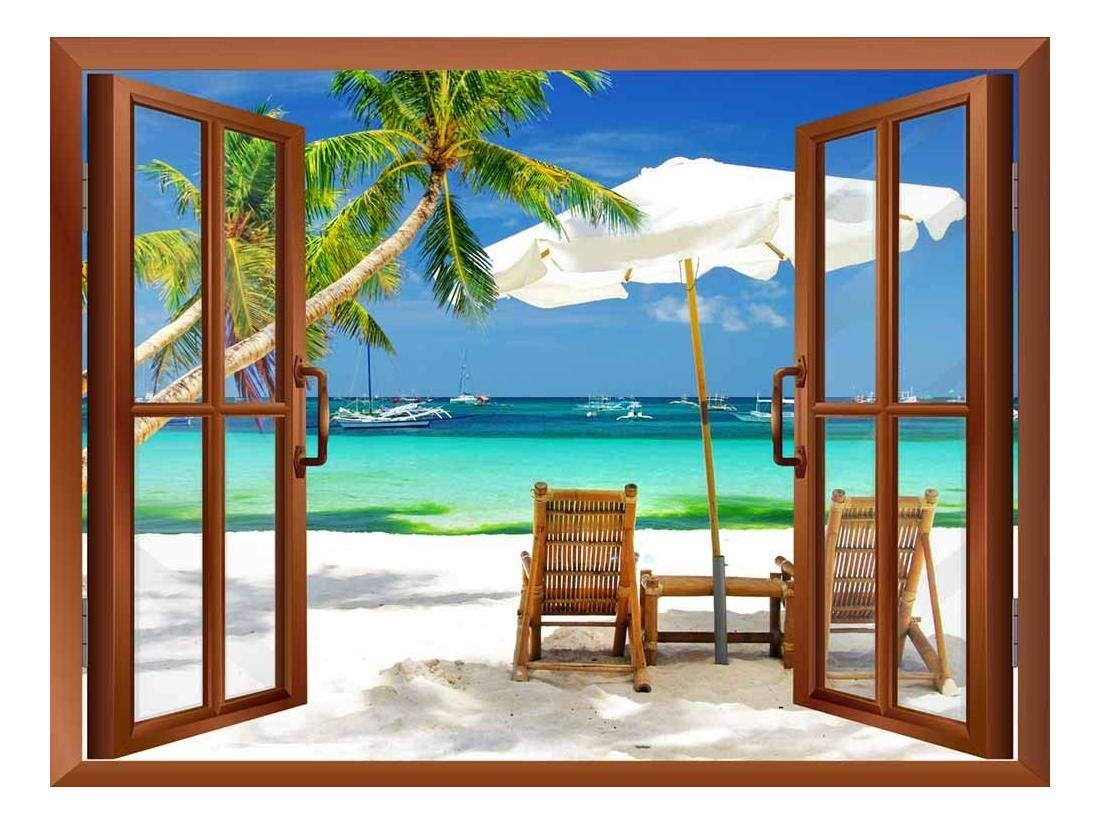 wall26 - Tropical Beach Scenery Removable Wall Sticker/Wall Mural - 36''x48''
