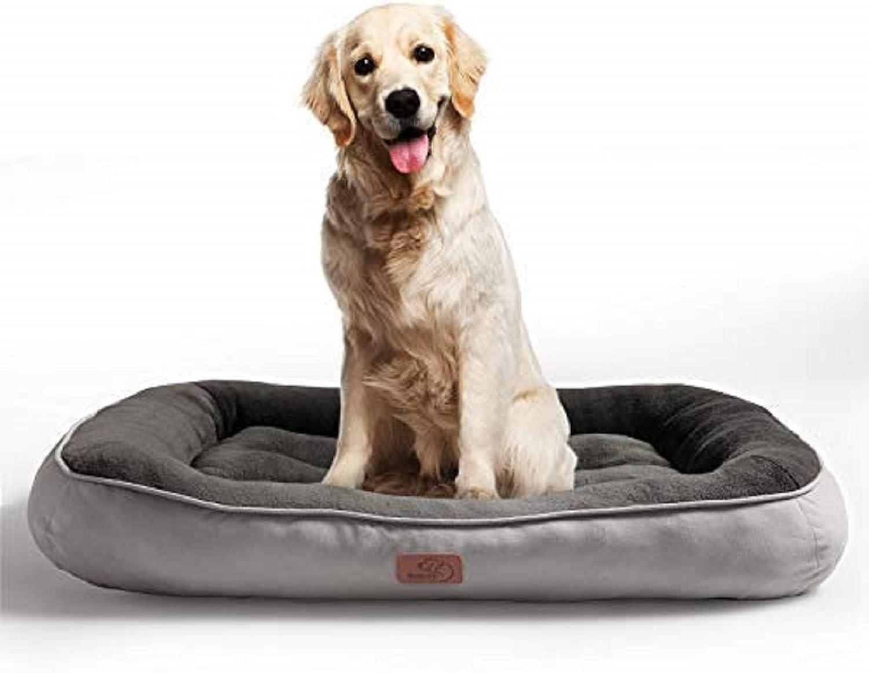 Bedsure Cama Perro Grande Lavable XL - Colchon Perro Cómoda de Felpa Muy Suave - Sofá de Perro 110x76cm,Gris