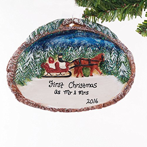 (Chestnut Horse and Sleigh Snow Christmas Ornament, New Home, First Christmas, Newly Wed, Engaged, Family Ornament )