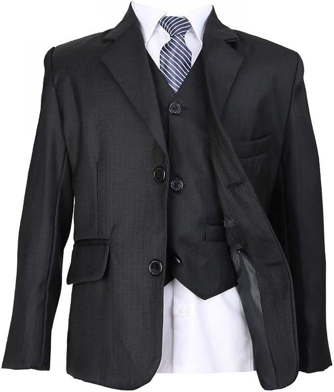 Cinda Black 5 Piece Boy Suits Wedding Suit Page Boy Party Prom