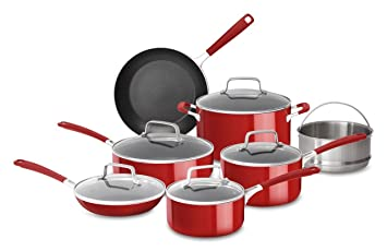 KitchenAid kc2as12er aluminio antiadherente batería de cocina (12 piezas, Empire rojo: Amazon.es: Hogar
