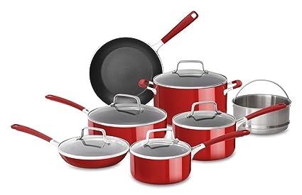 Bon KitchenAid KC2AS12ER Aluminum Nonstick 12 Piece Cookware Set, Empire Red