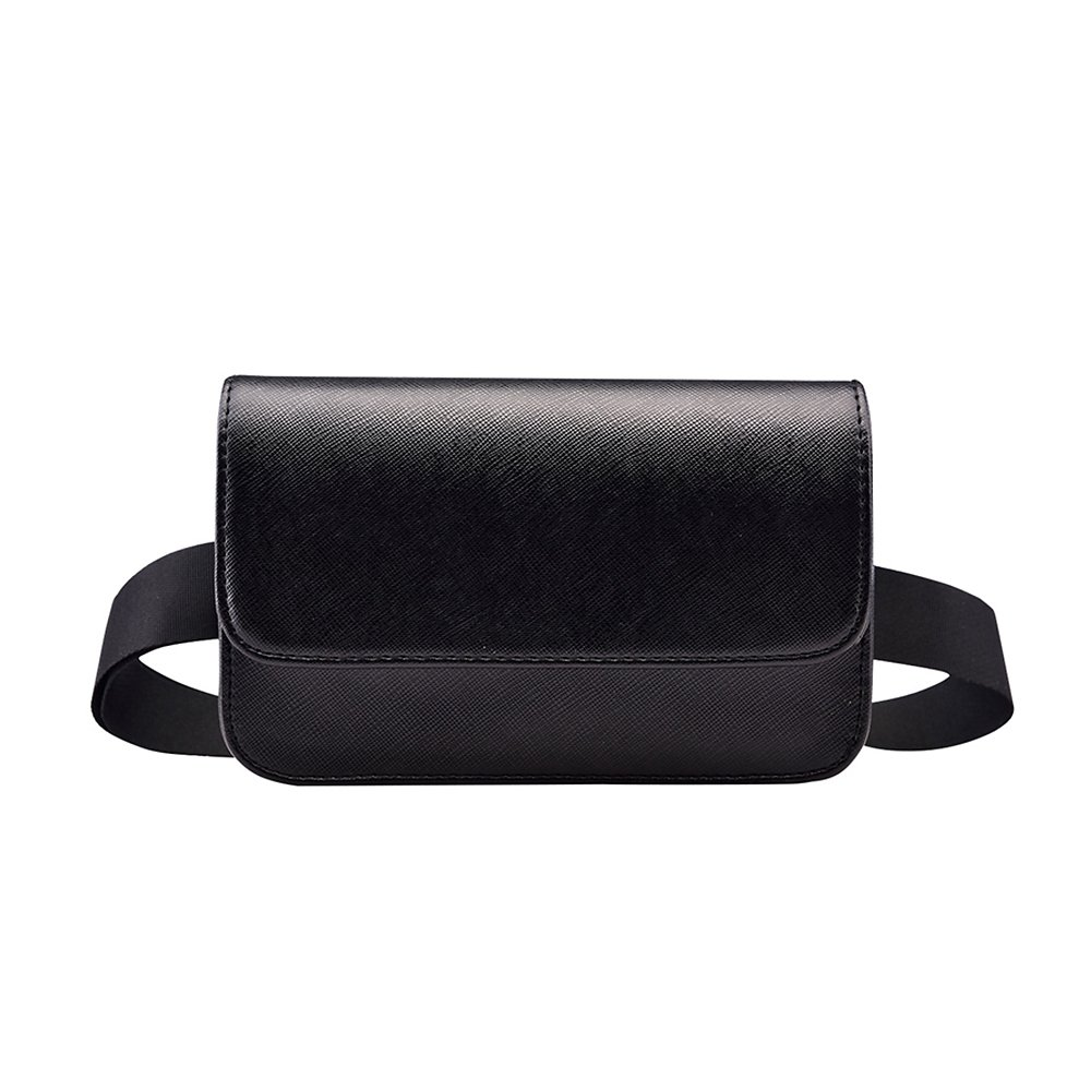 Badiya Fashion Solid Fanny Bag Black Female Adjusted Belt Bag Ladies Casual Waist Pack
