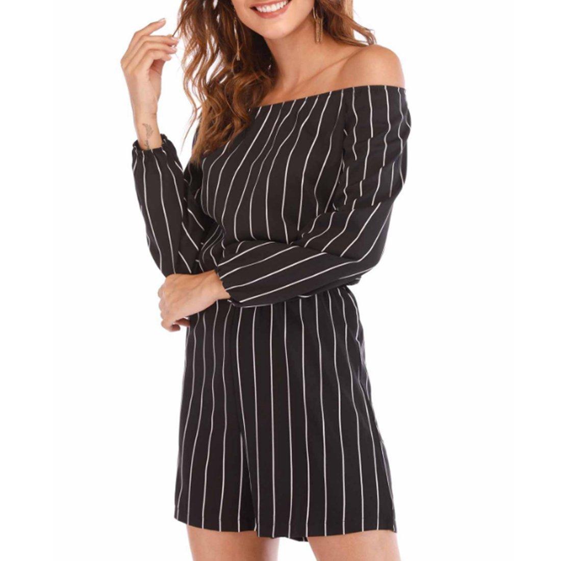 8d7b3622c424 Amazon.com  NEXLOMOS Womens Summer Casual Vertical Stripes Off Shoulder  Long Sleeve Short Jumpsuit Romper  Clothing