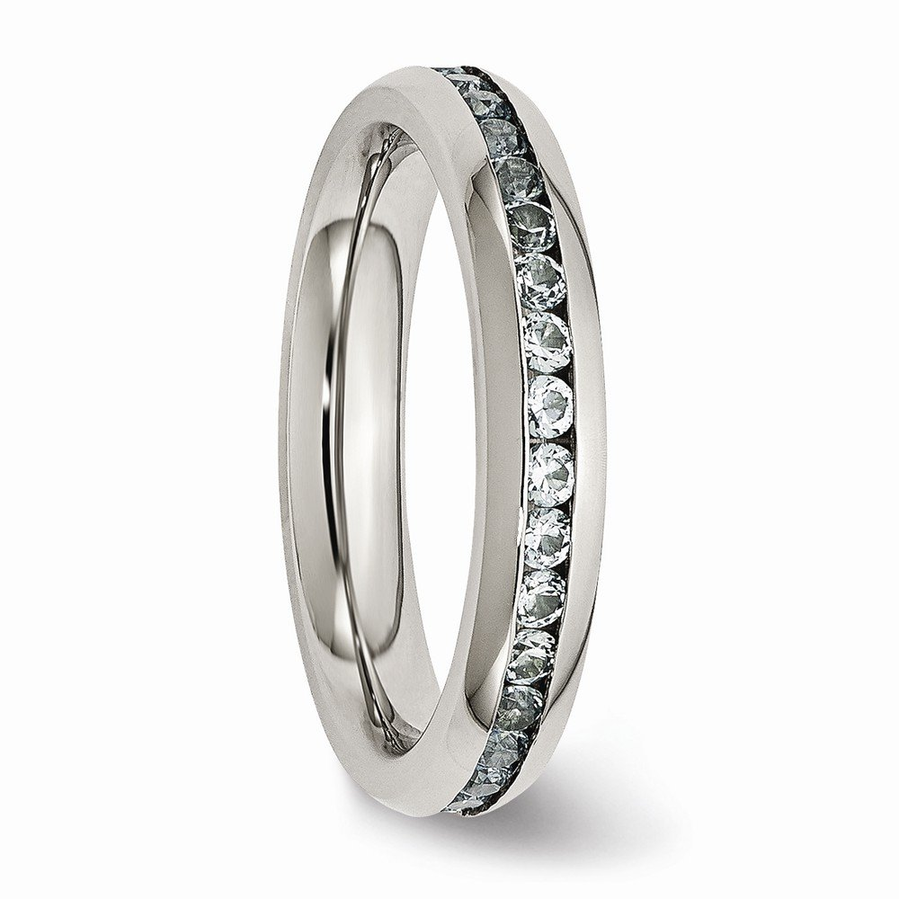Bridal Stainless Steel 4mm March Light Blue CZ Ring Size 6