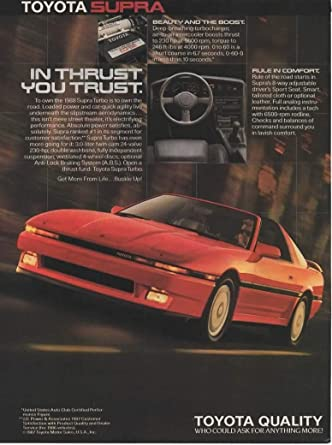 Amazon.com: Magazine Print ad: 1988 Toyota Supra Turbo, 3.0 L, 230 hp,