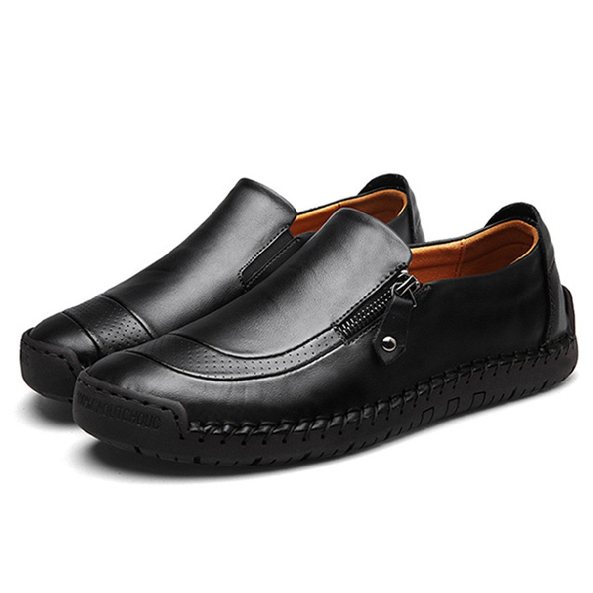 8d5d52a259cde Amazon.com | gracosy Slip-On Shoes, Men's Leather Hand Stitching Zipper  Non-Slip Oxford Casual Leather Loafers Driving Walking Shoes | Loafers &  Slip-Ons