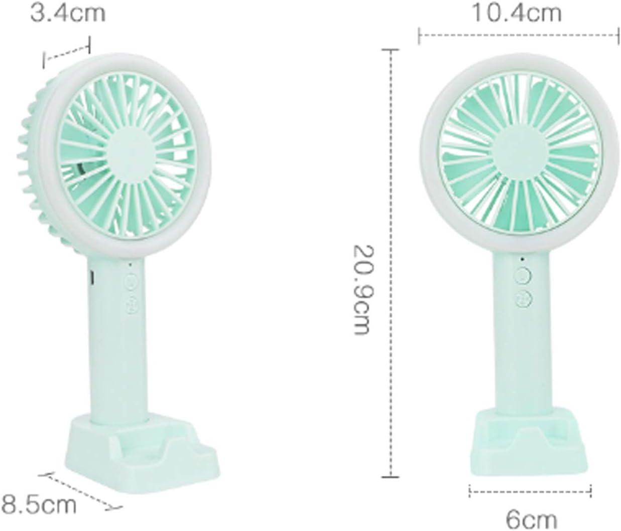 Color : White Convenient Handheld Electric Fan USB Rechargeable Cellphone Stand Holder LED Light Cooler Portable 3 Speed Adjustable Desktop Cooling Electric Fan Durable