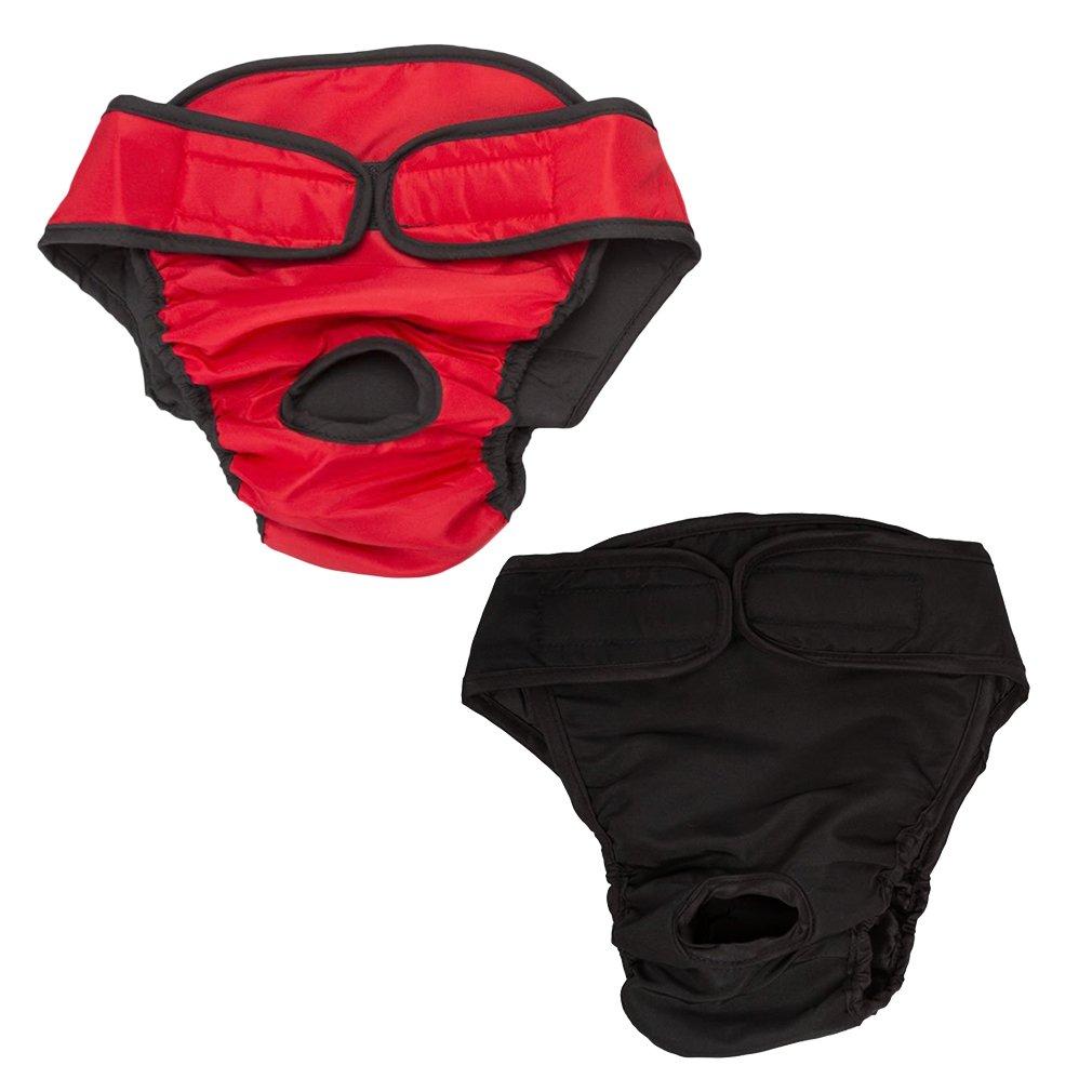 Culotte hygiéniques Sanitaire pour chien réglable réutilisable lavable Culotte menstruelle Protection pour chien moyen à grand X2 Hikong