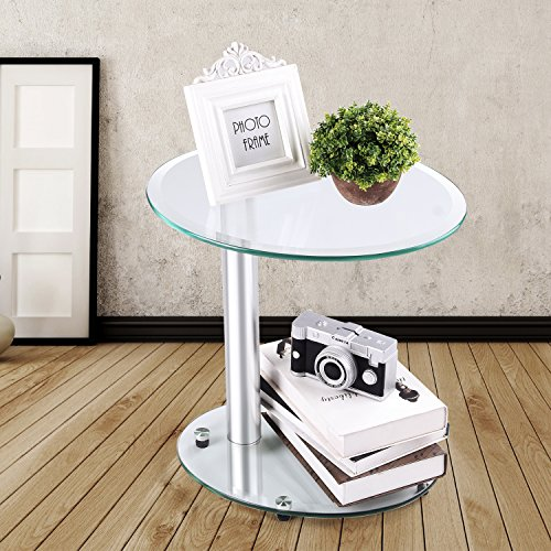 RFIVER Furniture Clear Glass Coffee Table,End Table,Sofa