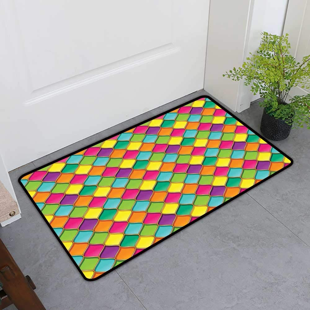 TableCovers&Home Door Mat Extra Large, Geometric Decorative Imdoor Rugs for Office, Vivid Colored Stained Glass Style Pattern Wavy Lines Curves Oval Shapes Modern (Multicolor, H36 x W60)