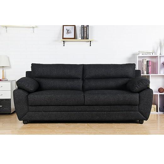 moloo Roma sofá Fijo 3 plazas, Tejido, Negro, 202 x 82 x 89 ...