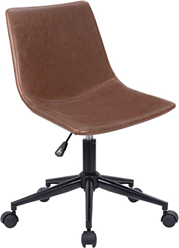 Homall Mid Back Task Chair Brown Leather Computer Office Chair Low Back Adjustable Swivel Vanity Chair Modern Armless Ribbed Conference Chair Brown