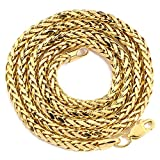 "LoveBling 14K Yellow Gold 3mm Palm Chain Necklace with Lobster Lock (Available in 16""- 30"")"