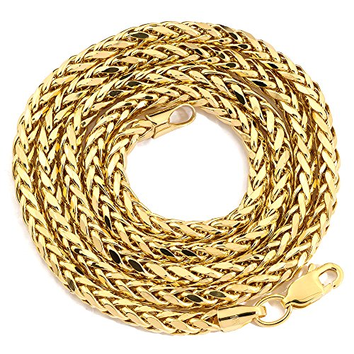 (LoveBling 14K Yellow Gold 3mm Palm Chain Necklace with Lobster Lock (22