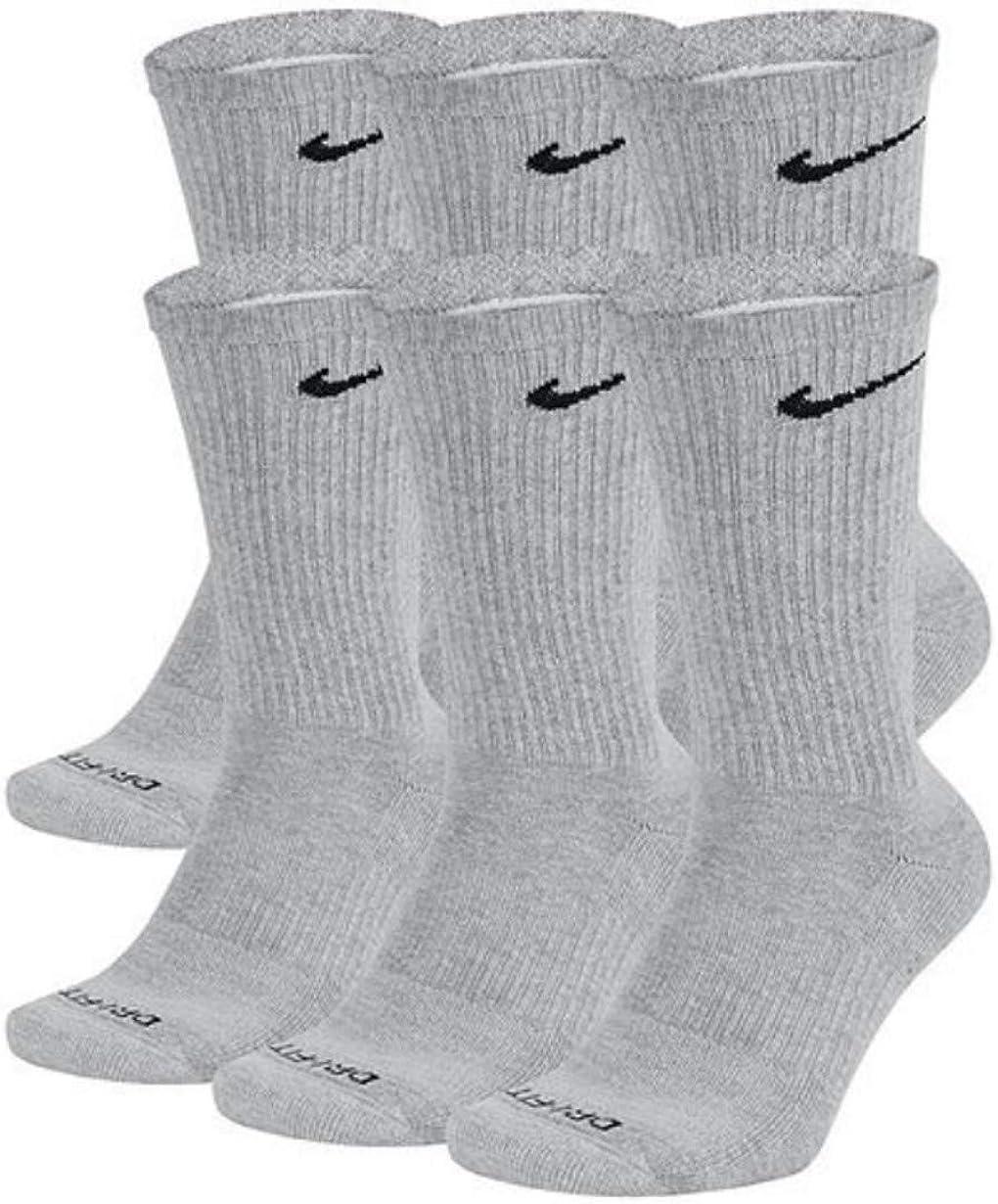 NIKE Dri-Fit Training Everyday PLUS MAX Cushioned Crew Socks 6 PAIR Wolf  Grey Black Swoosh Logo) LARGE 8-12