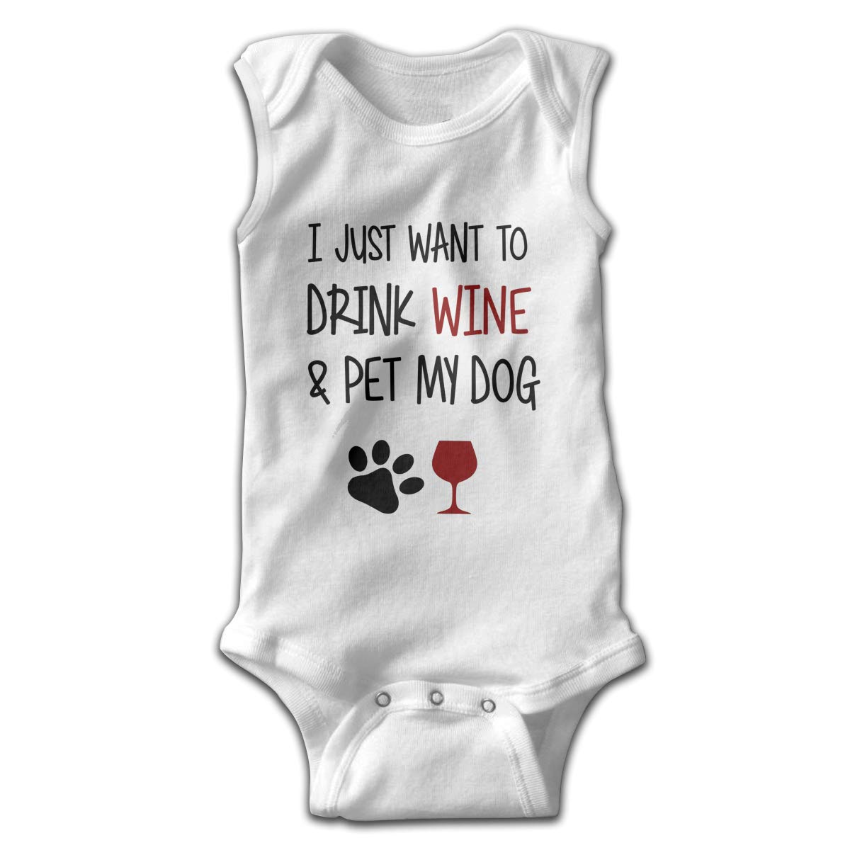 Efbj Infant Baby Girls Rompers Sleeveless Cotton Jumpsuit,I Just Want to Drink Wine and Pet My Dog Bodysuit Spring Pajamas