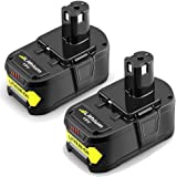 2Packs 18V 6.0Ah Replacement Battery for Ryobi Lithium Ion ONE+ Plus P102 P103 P104 P105 P107 P108 P109 P122 Cordless Power Tools