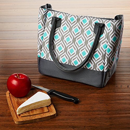 Fit & Fresh Womens Vienna Insulated Lunch Bag with Ice Pack, Signature Cooler Bag for Office or School, Aqua & Gray Leaf