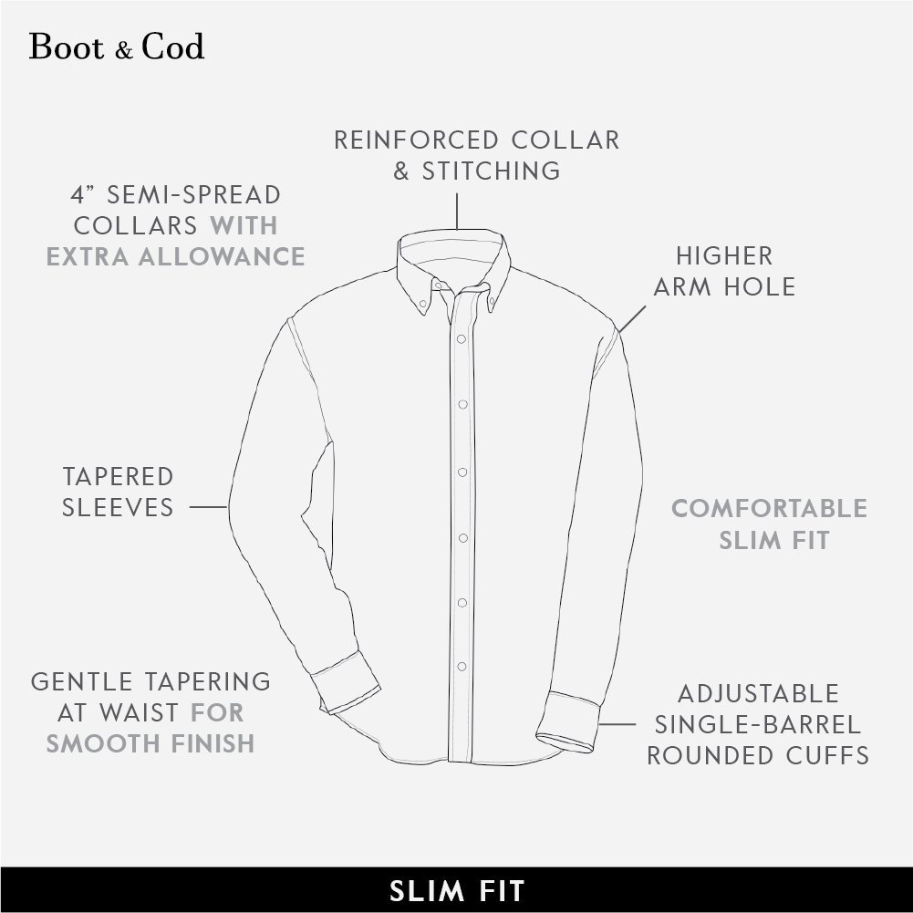 Boot & Cod Men's Classic White Fitted Long Sleeve Button Down Dress Shirt - XXL by Boot & Cod (Image #6)