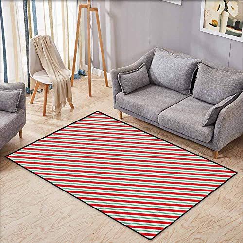 - Large Area Rug,Candy Cane,Bicolor Stripes and Lines Festive Traditional Design Seasonal Pattern,Anti-Static, Water-Repellent Rugs,4'11