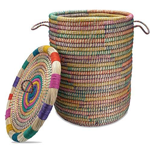 Gruener Handel Kollektion Marrakesch – Wäschekorb mit Deckel Ø 40cm – Natur – Handarbeit – Fair Trade