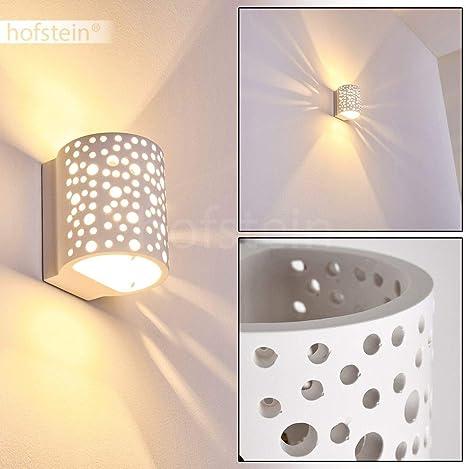 Wandleuchte Wohn Zimmer Glas Lampen weiß Flur Leuchten Wandlampe Gips bemalbar