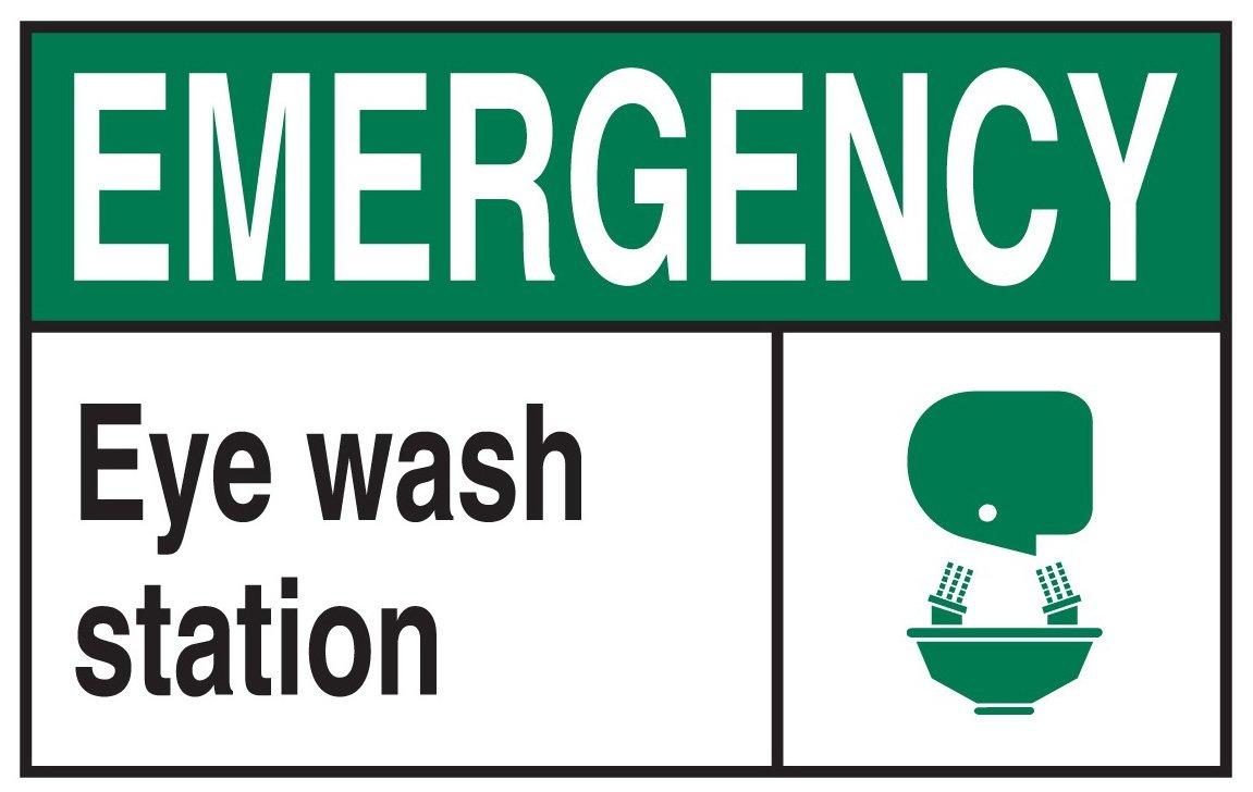 Black//Green//White Brady Worldwide Inc Brady 120658 GID PlasticEmergency Eye Wash Station Office and Facility Sign