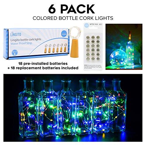 6Pcs Color Bottle Cork Copper Lights - 15 LED Wire String Lights for Bottle DIY, Party, Decor, Christmas, Halloween, Wedding or Mood Lights]()