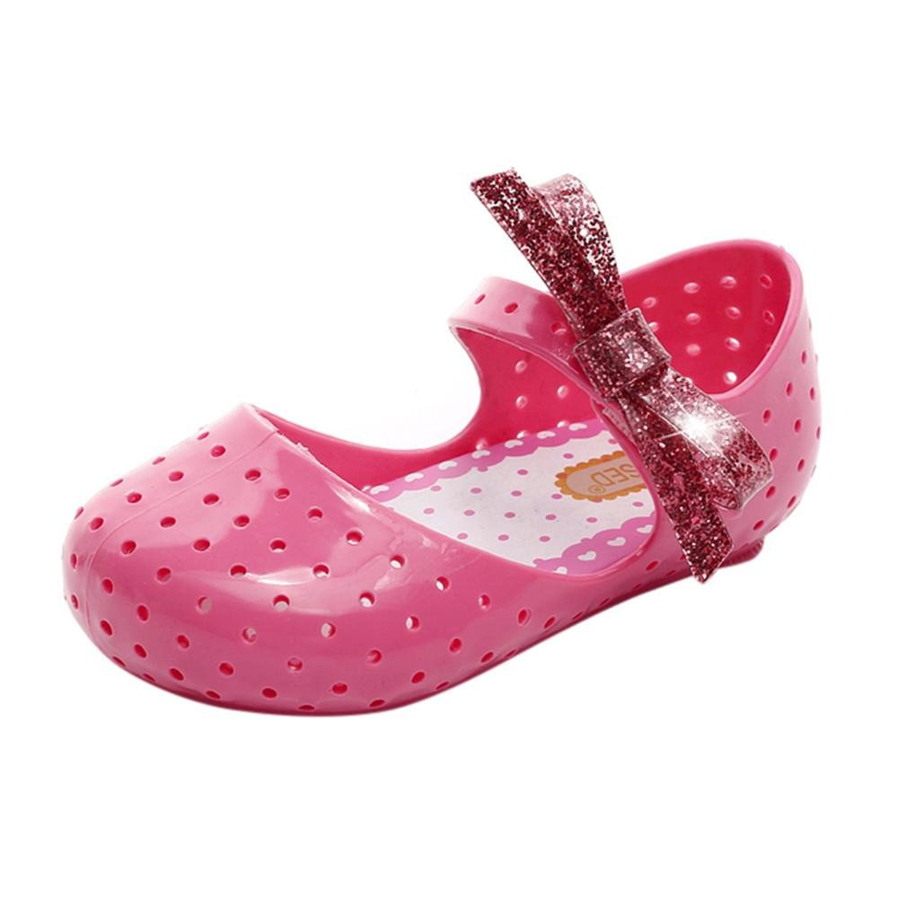 SUKEQ Kids Girls Lovely/Breathable Furadinha Mary Jane Flat Flash Powder Bowknot Pricness Sneakers