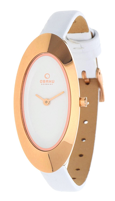 Obaku Denmark V156LVIRW - Reloj analógico para Mujer de Cuero Blanco