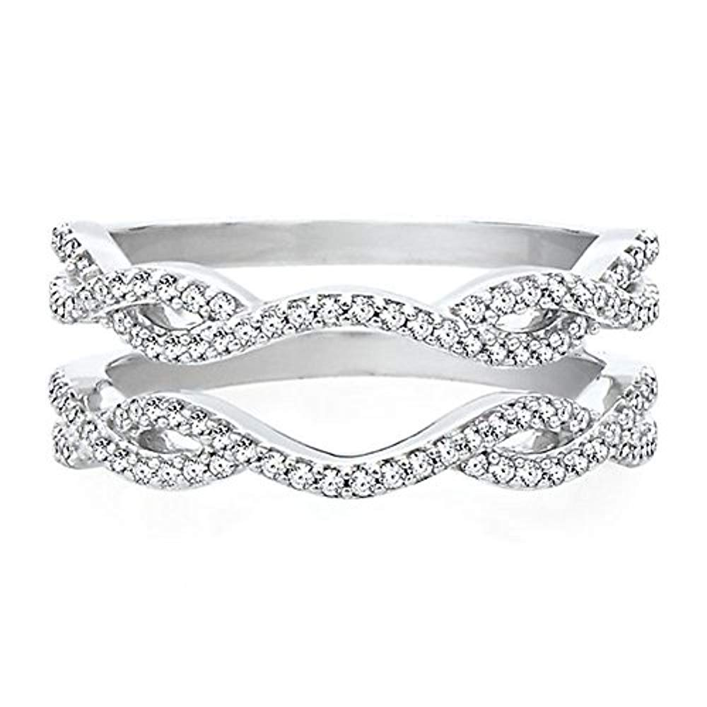 1/3 ct Solitaire Enhancer Cubic Zirconia Ring Guard Wrap Wedding Band 14K White Gold Over 925 Sterling Silver
