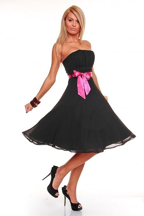 e12ce12b0b45 Knielanges Bandeau Kleid Chiffon Ballkleid Abendkleid Cocktailkleid  Festkleid XS bis XXL M (36) Schwarz  Amazon.de  Bekleidung