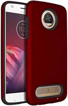 SENON Moto Z2 Play Case, Slim-fit Shockproof Anti-Scratch Anti-Fingerprint Protective Case Cover for Motorola Moto Z2 Play Red