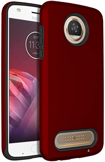 reputable site 7a205 af08f SENON Moto Z2 Play Case, Slim-fit Shockproof Anti-Scratch Anti-Fingerprint  Protective Case Cover for Motorola Moto Z2 Play Red