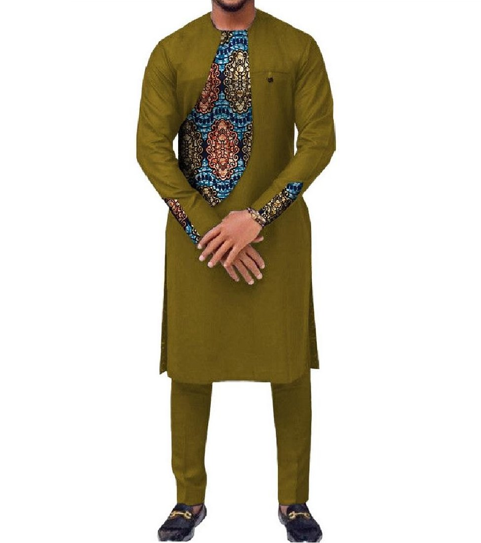 Vska Men Pullover Africa Dashiki Two-piece Suit Classic Shirt Pants 1 3XL